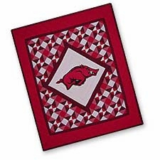 Cotton Filled Quilted Throws with the University of Arkansas Logo Brand C&F