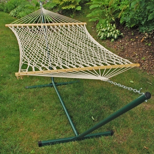 Cotton Rope Hammock and Stand Combination by Alogma