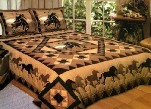 Country Cowboy Horse Quilt Handmade Queen Size Bedding by American Hometex