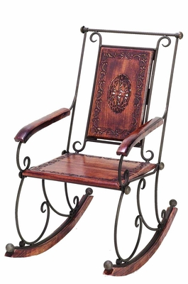 Country Porch Rocker Chair in Metal and Wood in Brown Finish Brand Woodland