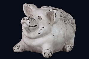 Country Style White Cement Pig by Urban Trends Collection