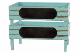 Countryside Inspired Wooden Storage Set of Two Blue