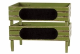 Countryside Inspired Wooden Storage Set of Two Green