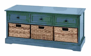 Countryside Life Style Basket Cabinet With 3 Wicker Baskets Side By Side Brand Woodland