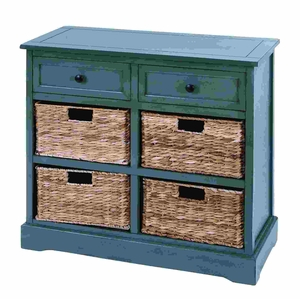 Countryside Style Basket Cabinet With 4 Vertical Wicker Baskets Brand Woodland
