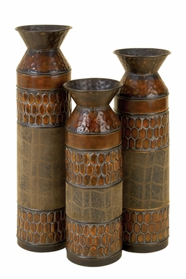 Courtyard Metal Vase in Rustic Brown N Green - Set of 3 Brand Woodland