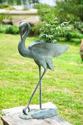 Crane Planter Holder With Gorgeous Crane That Makes It Special Brand SPI-HOME