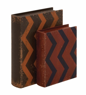Creative Styled Fancy Wood Leather Book Box by Woodland Import
