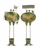 Creative Styled Standing Metal Frog Planter 2 Assorted by Woodland Import