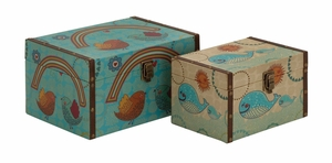 Creative Styled Wood Canvas Box by Woodland Import
