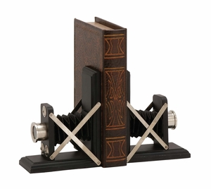 Creative Styled Wood Metal Bookend Pair by Woodland Import