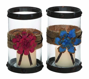 Creatively Styled Floral Metal Glass Candle Holder 2/Assorted by Woodland Import