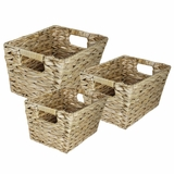 Creatively Wave 3pc Rectangle Water Hyancinth Basket by Entrada by Entrada