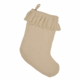 Creme Burlap Ruffled Stocking 11x15