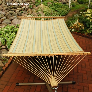 Crestwood Spa Stripe or Marlin Linen Tan 13 foot Reversible Quilted Hammock by Alogma