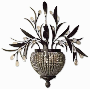 Cristal De Lisbon 2 Light Wall Sconce With Crystal Beads Brand Uttermost