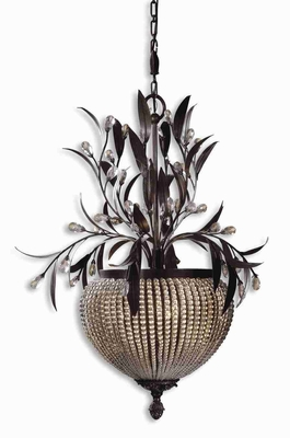 Cristal De Lisbon 3 Light Chandelier With Botanical Bouquets of Crystals Brand Uttermost