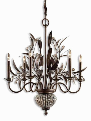 Cristal De Lisbon 6 and 2 Light Chandelier With Crystal Beads and Ribs Brand Uttermost
