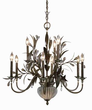 Cristal De Lisbon 9 and 2 Light Chandelier With Crystal Beads and Ribs Brand Uttermost