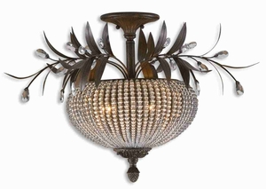 Cristal De Lisbon Semi Flush Mount With Crystal Beads Brand Uttermost