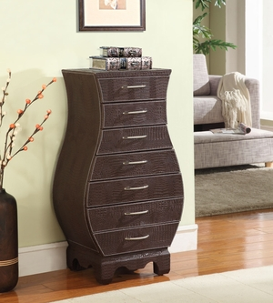 Croco Armoire with Bold Curves and Fine Details in Croco Brown Brand Nathan