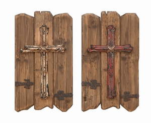 Crucifix Wall Decor - Wall Decor With Aged Wood - Set of 2 Brand Woodland