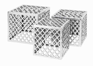 Cube Shape Aluminium Stool with Distinct Design (Set of 3) Brand Woodland