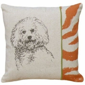"Cure and Delightful Screen Print Pillow Bichon 18x18"" by 123 Creations"