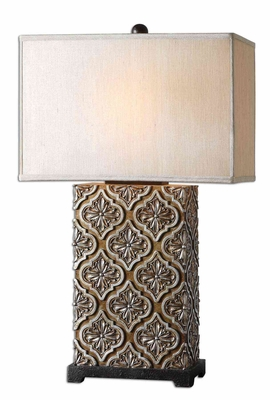 Curino Golden Bronze Table Lamp with Champagne Accents Brand Uttermost