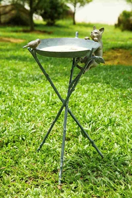 Curious Cat & Bird Birdbath Famous For Its Sculptural Beauty Brand SPI-HOME