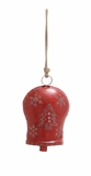 "Curved Top Metal Red Bell w/ Jute Rope & Christmas Design 8""W, 23""H by Woodland Import"