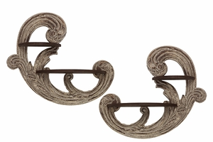 Curvy Floral Designed Pretty Set of Two Wooden Corbels by Urban Trends Collection