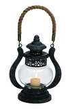 Curvy Zap Black Polished Metal Glass Jute Lantern by Woodland Import