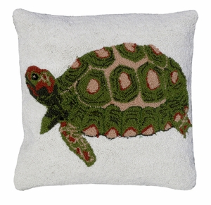"""Cushy and Lovely Turtle Hooked Pillow 18x18"""" by 123 Creations"""