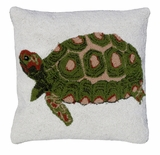 "Cushy and Lovely Turtle Hooked Pillow 18x18"" by 123 Creations"
