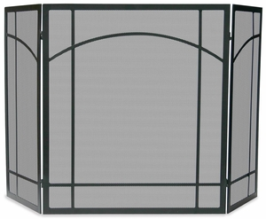 Customary Styled 3 Fold Black Wrought Iron Mission Screen