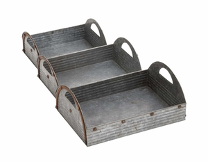Customary Styled Attractive Metal Tray by Woodland Import