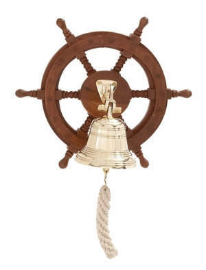Customary Styled Attractive Wood Ship Wheel Bell by Woodland Import