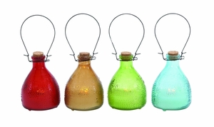 Customary Styled Bright Glass Led Candle 4 Assorted by Woodland Import