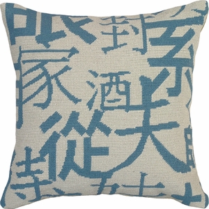 Customary Styled Kanji- Blue Needlepoint Pillow by 123 Creations