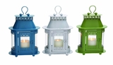 Customary Styled Metal Glass Lantern 3 Assorted by Woodland Import
