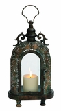Customary Styled Metal Glass Lantern by Woodland Import