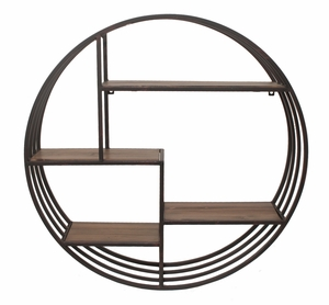 Customary Styled Metal Wall Rack with Wood Shelves by Three Hands Corp