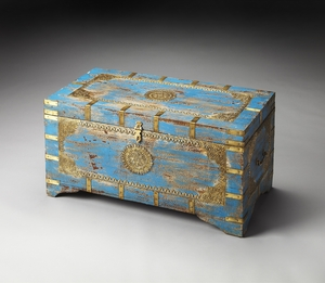 Customary Styled Neela Painted Brass Inlay Storage Trunk by Butler Specialty
