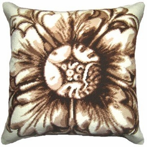 Customary Styled Rosette-Brown Needlepoint Pillow by 123 Creations