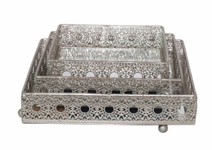 Customary Styled Set of 3 Silver Pierced Tray by Three Hands Corp
