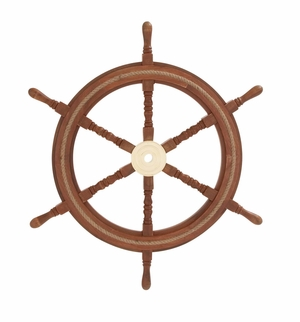 Customary Styled Wood Brass Ship Wheel by Woodland Import