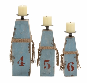 Customary Styled Wood Metal Candle Holder by Woodland Import