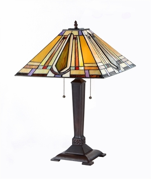 Customary Tiffany- Styled Fascinating Mission Table Lamp by Chloe Lighting