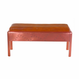 Customery Styled Aged Copper Clad Leather Bench by Yosemite Home Decor